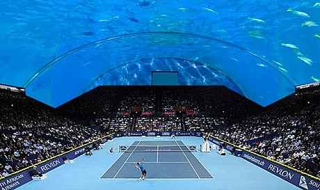 Tennis court under water in Dubai