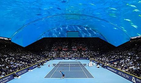 Tennis court under water in Dubai